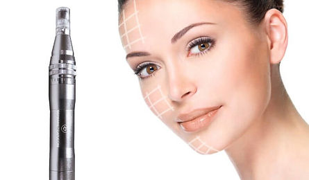 Woman with grid overlayed on face with Microneedling machine beside her