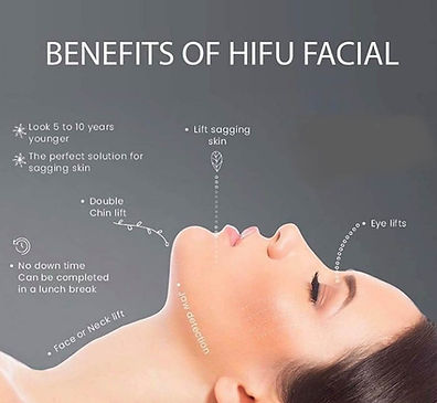 Infographic of woman's face point out benefits of HIFU facial on different parts of her face