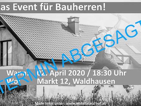 UPDATE - TERMIN ABGESAGT | Das Event für Bauherren beim Installateurhof Buchinger
