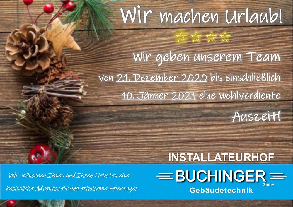 Frohe Weihnachten 2019 wünscht der Installateurhof Buchinger