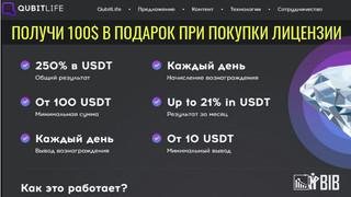 QubitLife - при покупки лицензии от 100$ в проекте получите в подарок лицензию Bronze номиналом 100$
