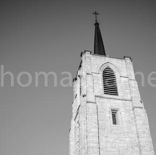 St. Johns Episcopal Church Steeple B&W