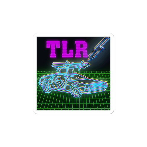 Back to the Gains TLR Blue DeLorean Sticker