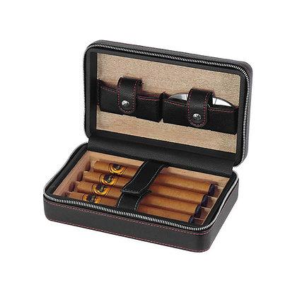 Travel Cigar case Leather black Spanish cedar -  SH-2272 LY-BL