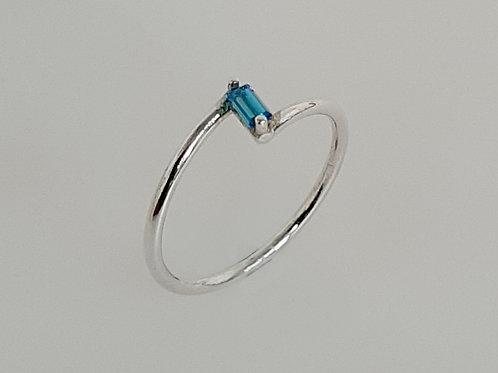 Blue Topaz Silver  Z Ring
