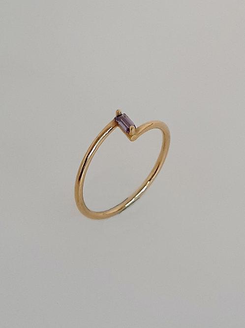 Amethyst Gold Z Ring 18K