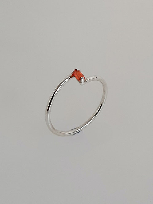 Garnet Silver  Z Ring