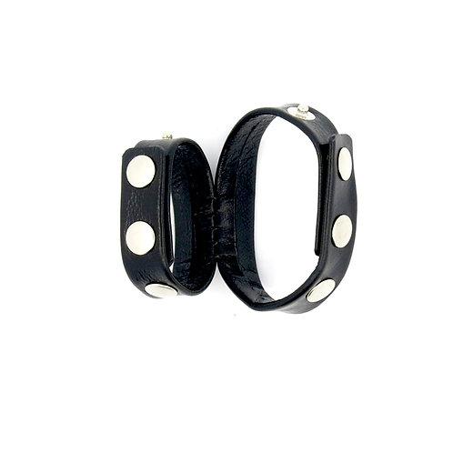 Двойное кожаное эрекционное кольцо на кнопках 1,6 (2) см х 21,0см - 17,см
