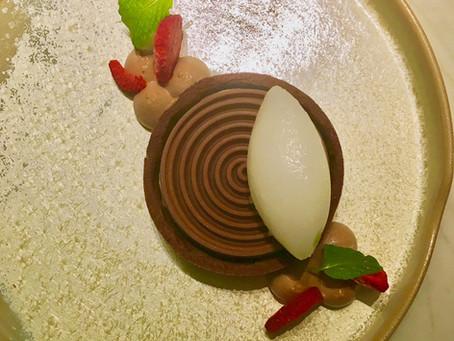 CHOCOLATE AND CARAMEL TART mint sorbet