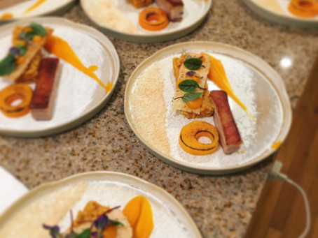 Dually Noted event: Personal Chef Yoann prepared Pork belly, butternut squash, corail lentils, and h