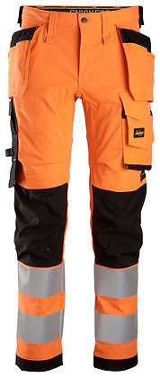 6243 AllroundWork, High-Vis Stretch Trousers Holster Pockets Cl 2