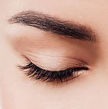 Closed eyes lashes closeup. Beauty Spa W