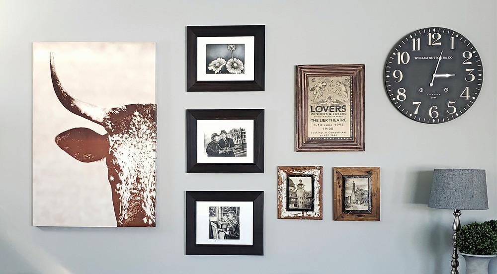 gallery wall | mixing original art & inexpensive decor