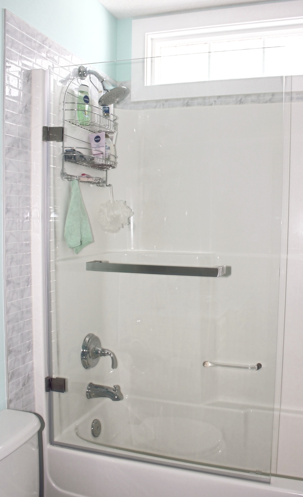 frameless tub shower door