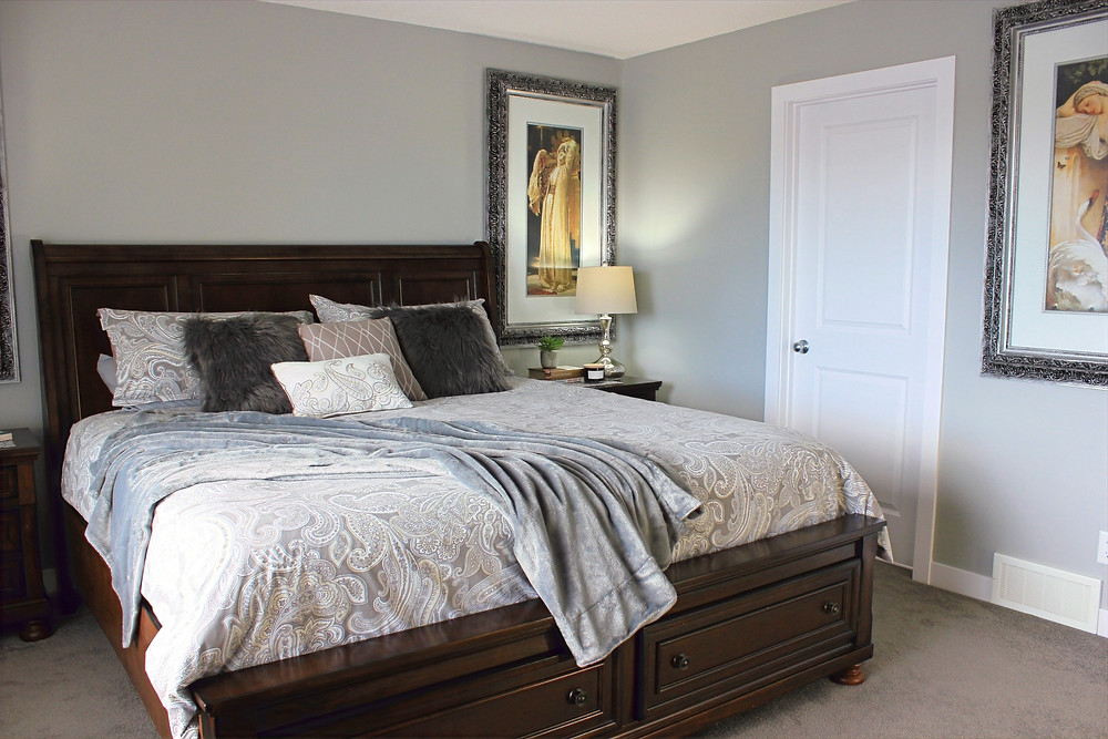 Master bedroom with large furniture | home decor |