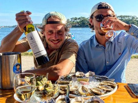 Huîtres et vin blanc au Lac d'Hossegor (40)