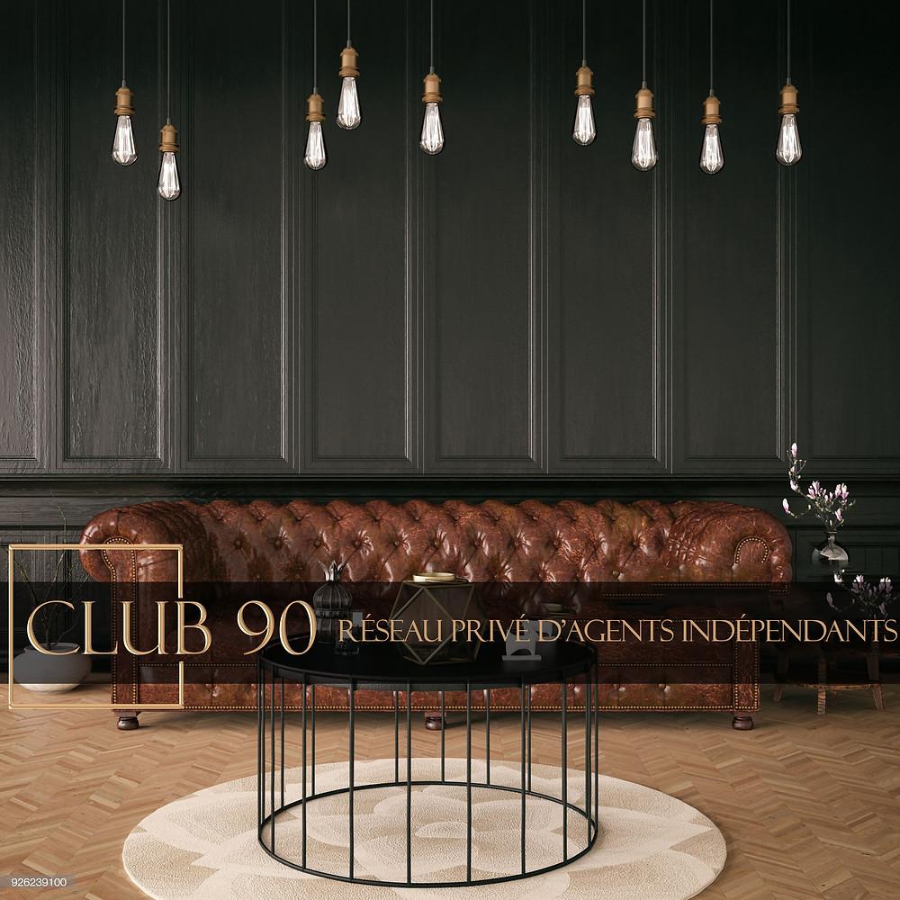 réseau immobilier le club 90, 100% commissions stables et 90% fixes