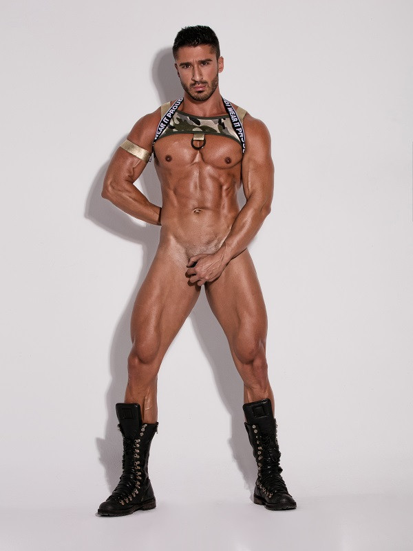 gay party chest harness army style