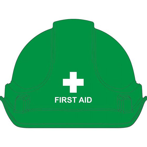3M/Unisafe Premium Hardhat, Green with First Aid Printing
