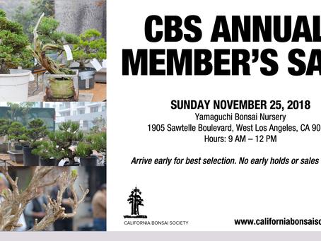CBS ANNUAL MEMBER'S SALE 11-25-2018