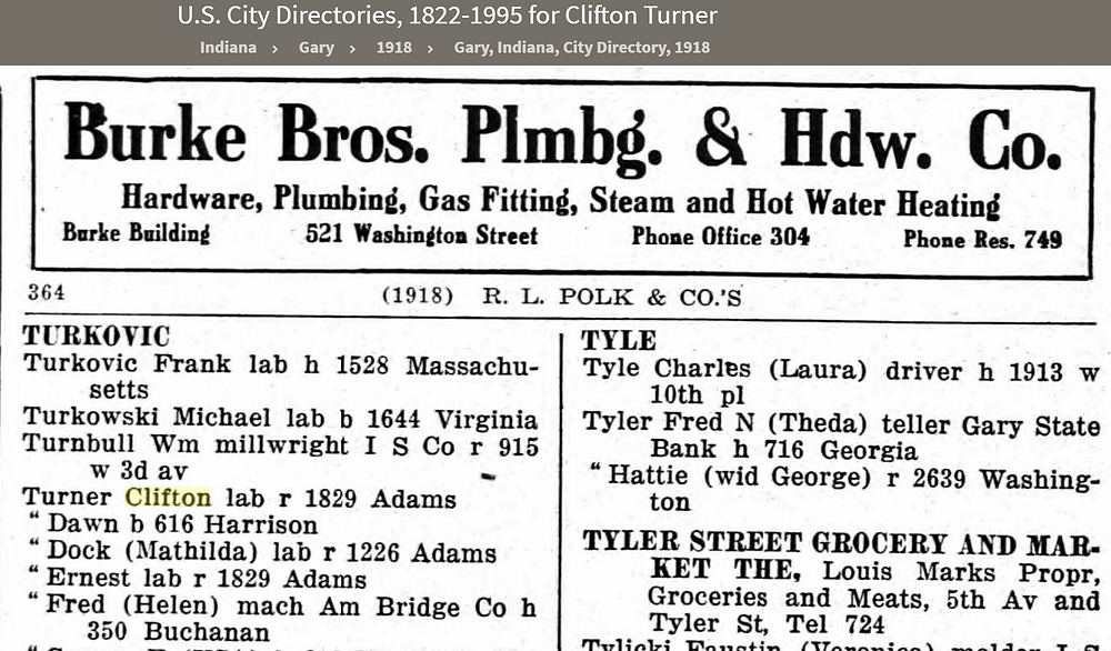 My Uncles Clifton and Ernest Turner living in 1829 Adams Street in 1918 Gary