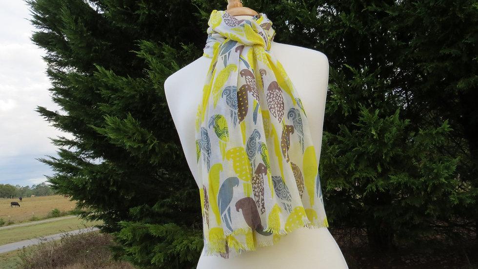 Yellow Art Birds Scarf