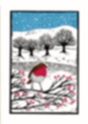 A Winter Feast. Linocut print.20 X 30cm