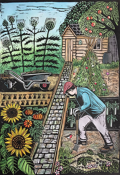 On the Allotment. Linocut.