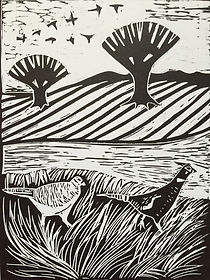 Pheasants.Lino cut print