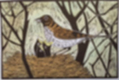 Thrush and chicks. Linocut print
