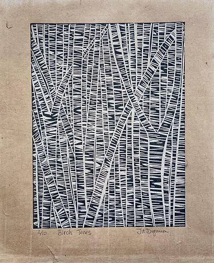 Birch Trees. Linocut
