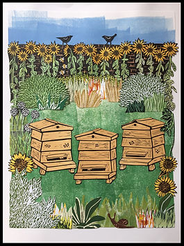 Beehives and Blackbirds (collage)