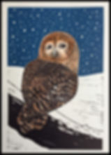 Owl in Winter. Lino cut print