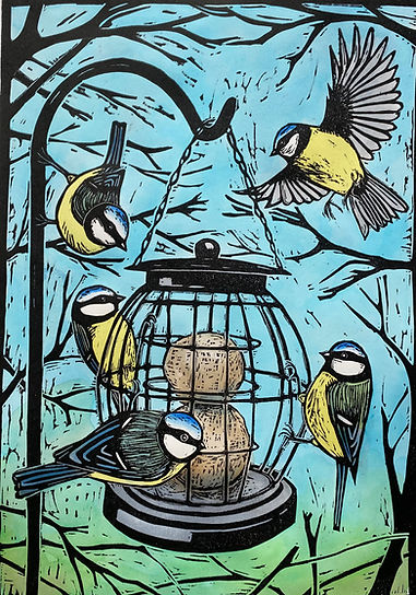 Linocut. At the Feeder_