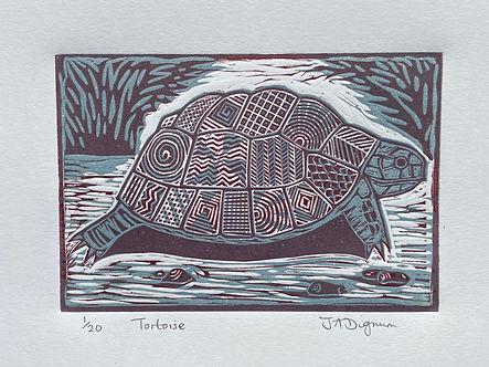 Tortoise. linocut
