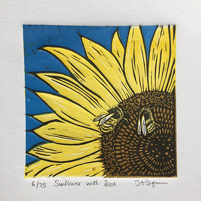 Sunflower and Bees. Linocut