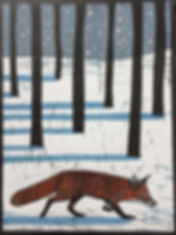 Winter Fox Linocut print