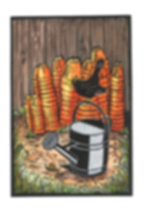 Blackbird and Old Pots Lino cut print_ed