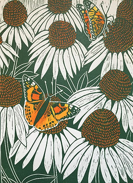 Butterflies_Hand painted lino cut print