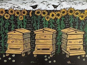 Beehives. Linocut print