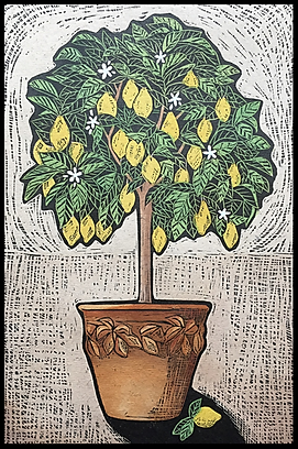 The Lemon Tree (hand coloured linocut pr