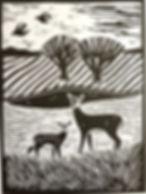 deer  linocut print