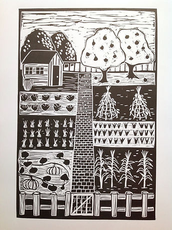 Allotment path. linocut print