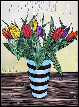 Tulips in a Vase (hand coloured linocut