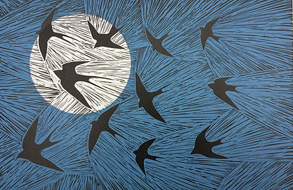 On the Wing. Linocut print. 30 X 20cm £5