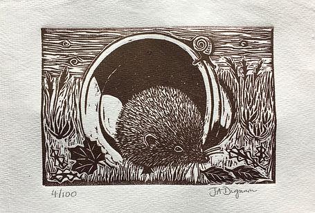 Hedgehog in a Pot. Linocut