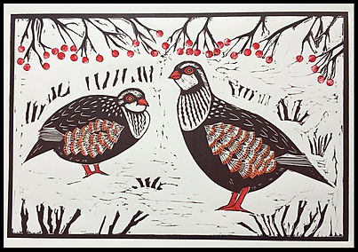 Partridges in the Snow. Lino cut print