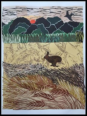 Running Hare (collage)