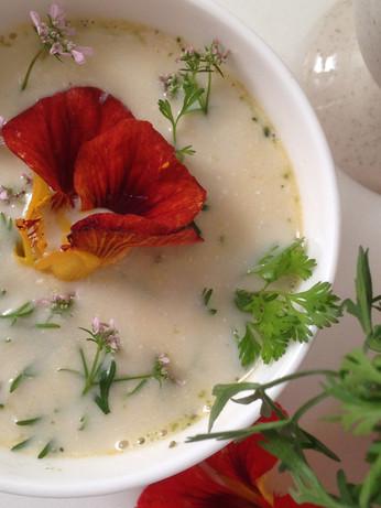 Soupe de brocolis, mozzarella di bufala fumée et fleurs de coriandre