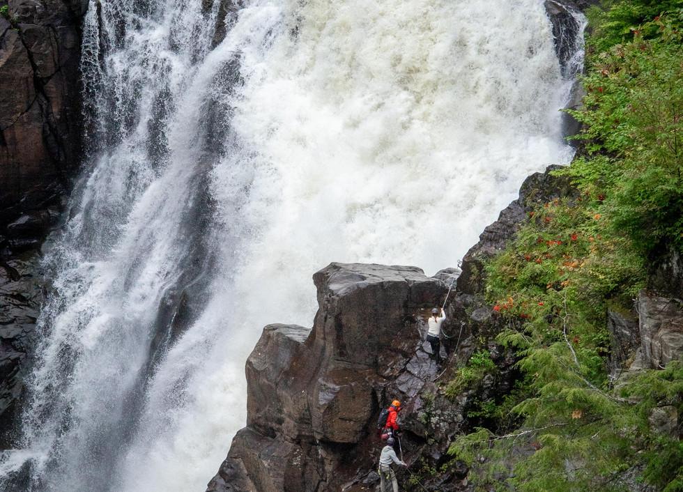 Via Ferrata in a canyon beside a 74m waterfall